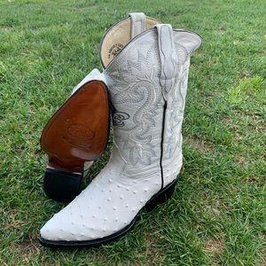 Men's Cowboy boots ostrich print leather bone 099